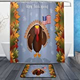 Interesting Turkey with American Flag for Thanksgiving Day Waterproof Polyester Fabric Shower Curtain (60' x 72') Set with 12 Hooks and Bath Mats Rugs (23.6' x 15.7') for Bathroom - Set of 2