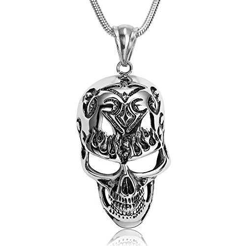 Adisaer Jewelry Vintage Style Skull Tatto Flaming Mask Stainless Steel Pendant Necklace for Men Husband Size 6.6x3.8 cm]()