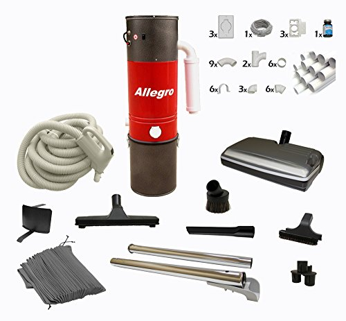 Central Vacuum Complete Electric Package with Allegro Unit 3 Inlet Kit & 80 ft Pipe (Standard Outside Exhaust Vent compare prices)