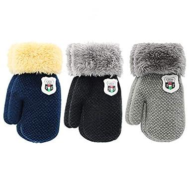 Fineser Toddler Boys Girls Fleece Lined Knit Kids Hat with Earflap Winter Hat