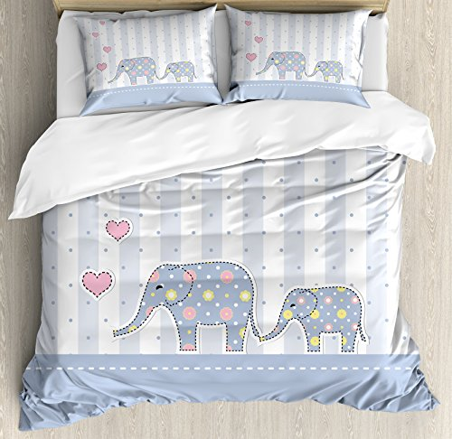Elephant Nursery Decor Queen Size Duvet Cover Set by Ambesonne, Baby Shower Theme Cheerful Newborn Celebration Pastel Toned Striped, Decorative 3 Piece Bedding Set with 2 Pillow Shams, Multicolor