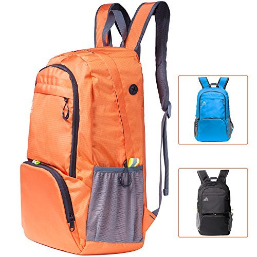 Cobiz Ultralight Travel Backpack, 30L Water Resistant Roomy Foldable Latop Hiking Camping Daypack for Women Kids -Built in Safety Pocket and Headphone Jack (Orange)]()