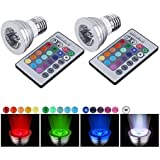 CO-Z 16-color Changing 3W E27 RGB LED Light Bulbs with Remote Control 100-240V AC for Holiday Chirsitmas Party (3W 2PCS)