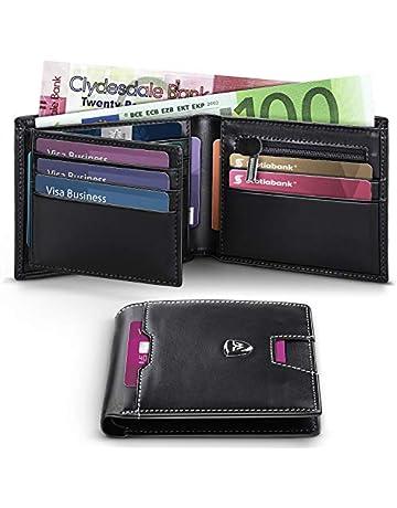 ad716cf3a7 Portafoglio Uomo RFID Blocking con cartoline e borsa,Trifold Slim Portafogli  in vera pelle con