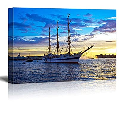 Premium Creation, Handsome Picture, A Sailing Ship Anchored in Neva River at Sunset Saint Petersburg Wall Decor