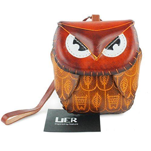 UER Women's Handcrafted Genuine Leather Animal Coin Purse Wallet Card Holder with Wristlet (brown)
