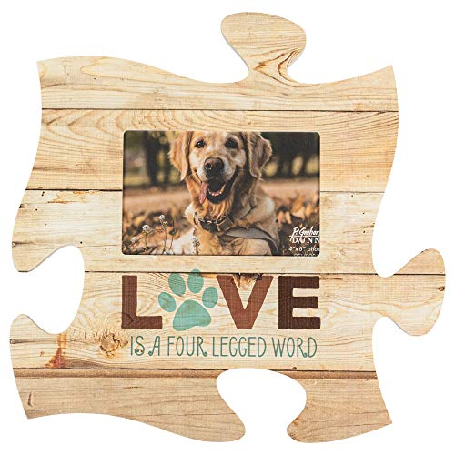 P. Graham Dunn Love is a Four Legged Word 12 x 12 Wood Wall Art Puzzle Piece 4×6 Frame Plaque