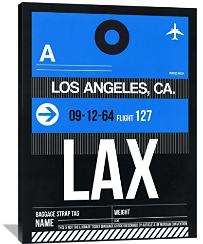 "Naxart Studio ""LAX Los Angeles Luggage Tag 3"" Giclee on Canvas, 36"" by 1.5"" by 48"" from Naxart Studio"