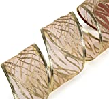 "SANNO 6 Rolls Wired Decorations, Christmas Ribbon Assorted Sheer Glitter Ribbon Tulle Decorations Wired Edge Ornaments 36 Yards (2.5"" Wide x 6 Yard Each) -Gold"