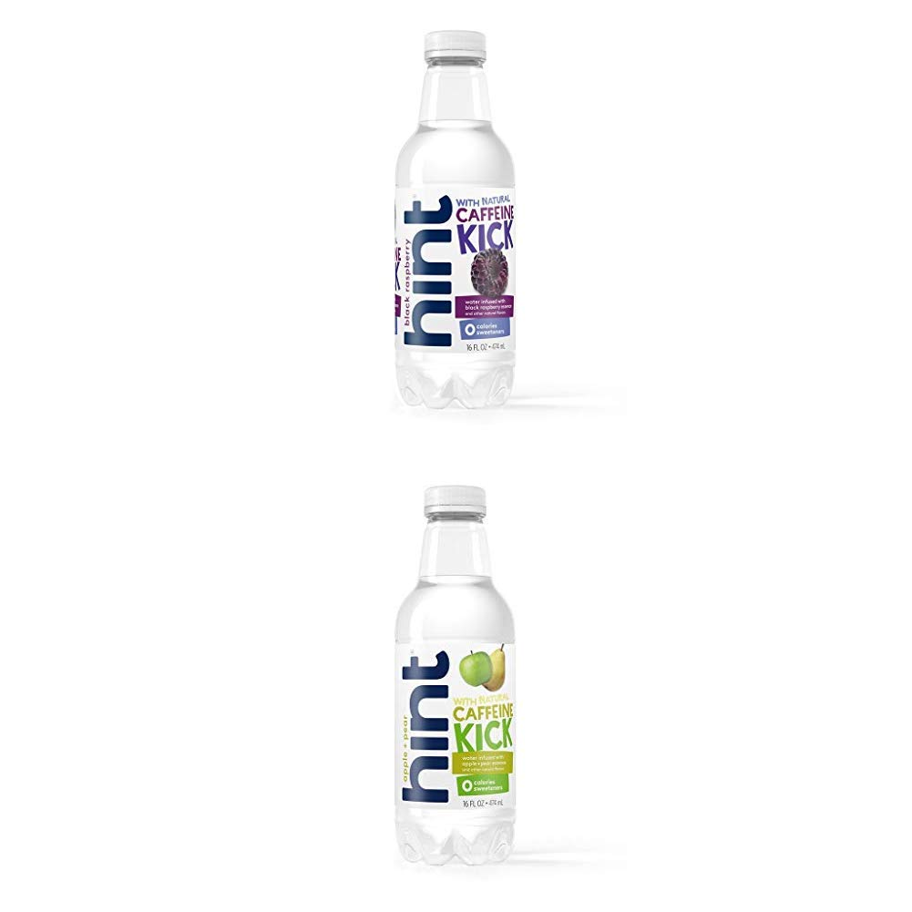 Hint Kick With Caffeine Water, Apple Pear, (Pack of 12) 16 Ounce Bottles, Caffeinated Water and Kick With Caffeine Water, Black Raspberry, (Pack of 12) 16 Ounce Bottles