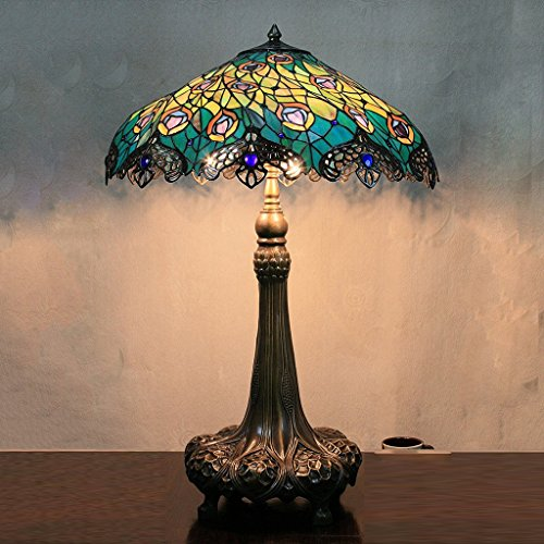 LILAS 21 Inch Vintage Pastoral Luxury European Peacock Feathers Tiffany Style Table Lamp Desk Lamp Bedside Lamp