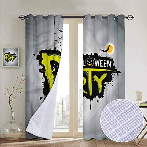 NUOMANAN Pattern Curtains Halloween,Brushstrokes Artistic,Living Room and Bedroom Multicolor Printed Curtain Sets 54