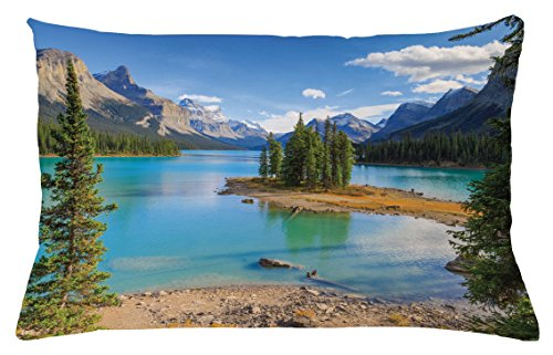 Lunarable Landscape Throw Pillow Cushion Cover, Maligne Lake in Jasper Natioanal Park Alberta Canada Summer Day Outdoor Picture, Decorative Accent Pillow Case, 26 W X 16 L Inches, Green Blue (Canada Bath Bench)
