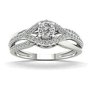 De Couer 10K White Gold 1/3ct TDW Diamond Split Shank Engagement Ring (H-I, I2)