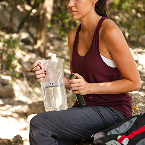 Survivor Filter Collapsible Canteens (33oz) 2 Pack (2L Total) - Durable Carabiners and Handles. Squeeze Water through a Filter or Use as Water Bottles. Light and BPA Free.