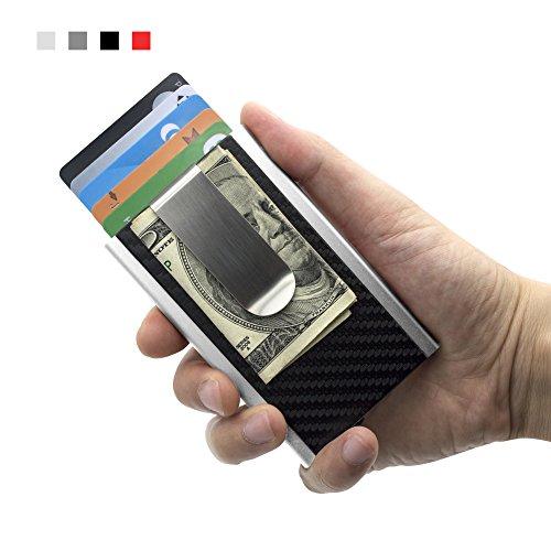 MOSIYEEF RFID Blocking Slim Wallet Aluminum Front Pocket Wallet Money Clip Wallet Automatic Pop Up Wallet Imitation Carbon Fiber Wallet (silver)