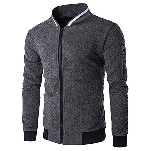 - OSTELY Men's Plaid Cardigan Zipper Long Sleeve Sweatshirt Tops Jacket Coat Outwear(Dark Gray,XX-Large)