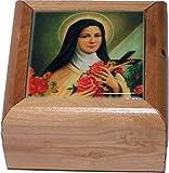 Holy Land Market First Communion Box - Rosary Box - Bethlehem Olive wood (Cerarmic - St. Theresa)
