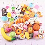 Squishies Best Deals - Pursuestar 10Pcs Random Kawaii Mini Soft Squishy Foods Panda Bread Bun Toasts Multi Donuts Phone Straps Charm Kids Toy Gift