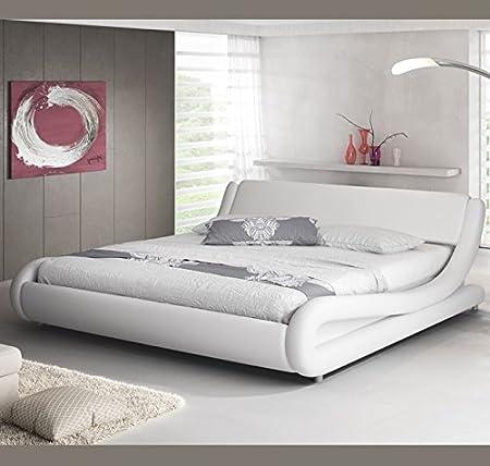 muebles bonitos Cama de Matrimonio de Polipiel Moderna Alessia para colchón de 180 x 200 cm Blanco con somier de Laminas Incluido: Amazon.es: Hogar