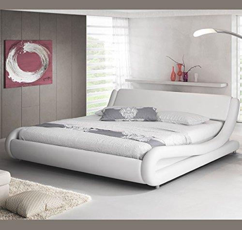 muebles bonitos Cama de Matrimonio de Polipiel Moderna Alessia para colchón de 120 x 190 cm Blanco con somier de Laminas Incluido: Amazon.es: Hogar