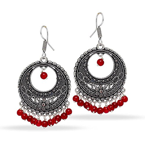 ollywood Glass Stone Silver Plated Earrings Maroon Jewellery ()
