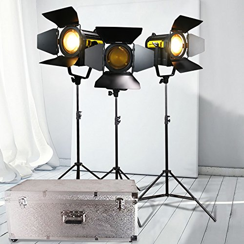 3 PCS 150W LED Fresnel Spotlight 3200K/ 5500K+3 Stands + Aluminium Case Kit for Camera Photographic Studio Continous Lighting (Spotlight Fresnel)
