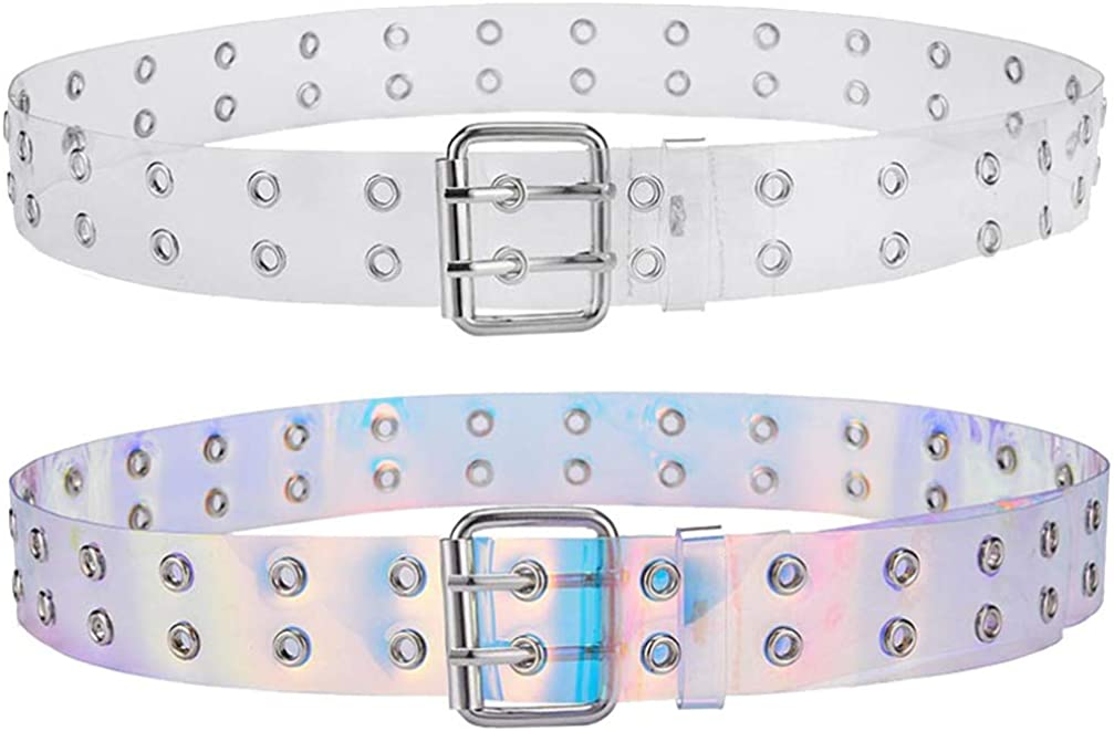 Clear + Hologram TENDYCOCO Double Grommet Belt Holographic Jeans Belt Iridescent Retro Double Hole Belt for Women Ladies Girls