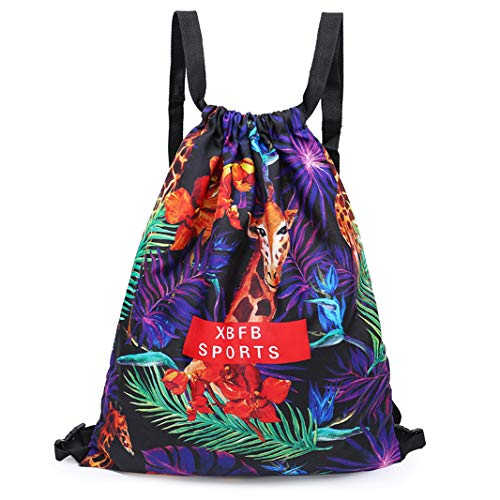 Drawstring Backpack Foldable Cinch Sack Basic Sackpack Gym Tote Dance Bag for Swimming Shopping Sports Women Men Boys Girls (Giraffe DB)