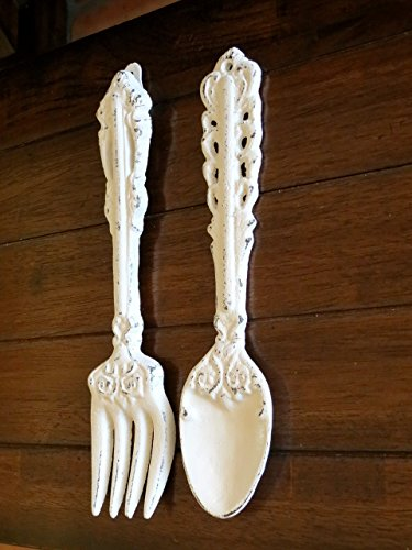 Fork and Spoon Wall Hanging / Antique White Or Pick Your Color/Rustic Kitchen Wall Décor /Cast Iron Wall Décor/Oversized Utensils Decor ()