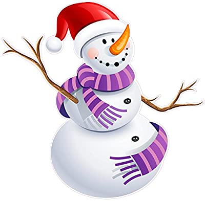 """Christmas and Holiday Wall Decor Snowman version 5 Small 12"""" x 11"""" Decal Fast from the United States"""