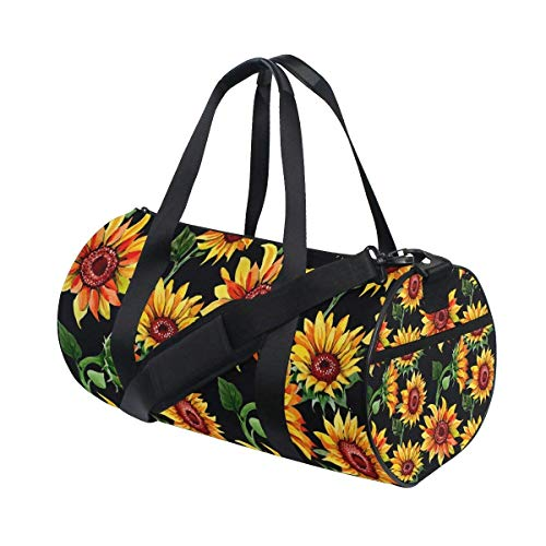 Gym Duffel Bag Watercolor Sunflower Sports Lightweight Canvas Travel Luggage (Versace Double Handles Bag)