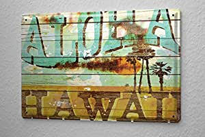 m a allen retro tin sign u s deco aloha hawaii surfing dream island 20x30 cm large. Black Bedroom Furniture Sets. Home Design Ideas