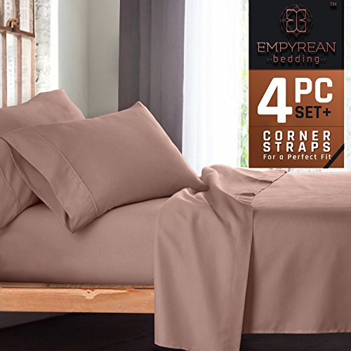 Large Single Bed (Premium 4-Piece Bed Sheet & Pillow Case Set – Luxurious & Soft Twin XL (Single) Size Linen, Extra Deep Pocket Super Fit Fitted Taupe Sand Sheets)