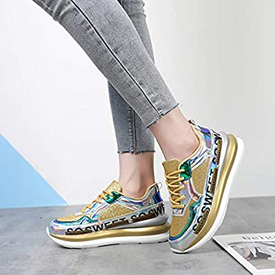 Xinantime Womens Girls Hipster Shoe Colorful Mirror Trend Sneakers Nightclub Wild Sequined Casual Shoes: Clothing