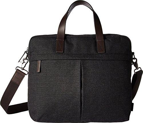 Fossil Men's Buckner Leather Brief Workbag Laptop Messenger Bag, Black, One Size