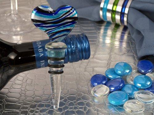 Murano Art Deco Heart Design Stopper Blue And Silver Colors C2918 Quantity of 1