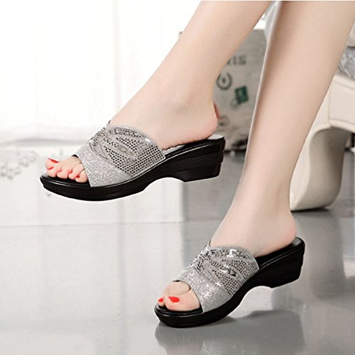 Strass Femmes Robe Pour Cales Brillante Confort Plate Noir Antidérapant Bas Argent Sandales Diapositives forme qqar1