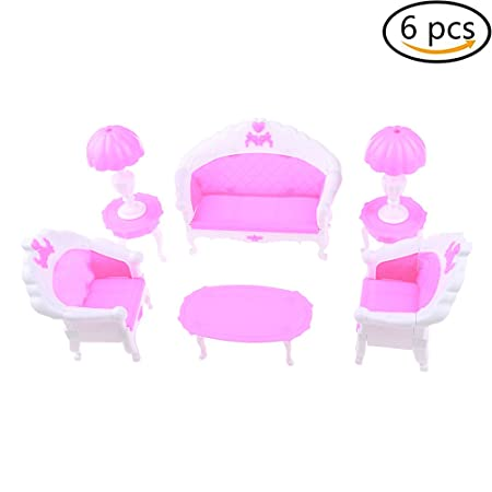 Fantastic Lcr Sweety 6 Pcs Plastic Sofa Chair Set Couch Table Lamp Set Short Links Chair Design For Home Short Linksinfo