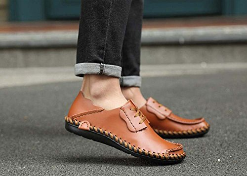 Pump Business Casual Zapatos de cuero Slip On Loafer Hombres Retro Toe Redonda Color Puro British ShoeLace Plate Zapatos Conducir Zapatos Eu Tamaño 38-47 Light brown