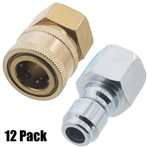 Erie Tools 12 Pressure Washer 3/8 Female NPT Quick Connect Brass Socket Set and Plug, High Temp, 4000 PSI, 10.5 GPM by Erie Tools