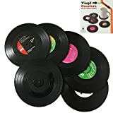 Ksmxos Coasters Set of 6 in Holder - Protect Furniture From Water Marks & Damage - Good Grip (Black)