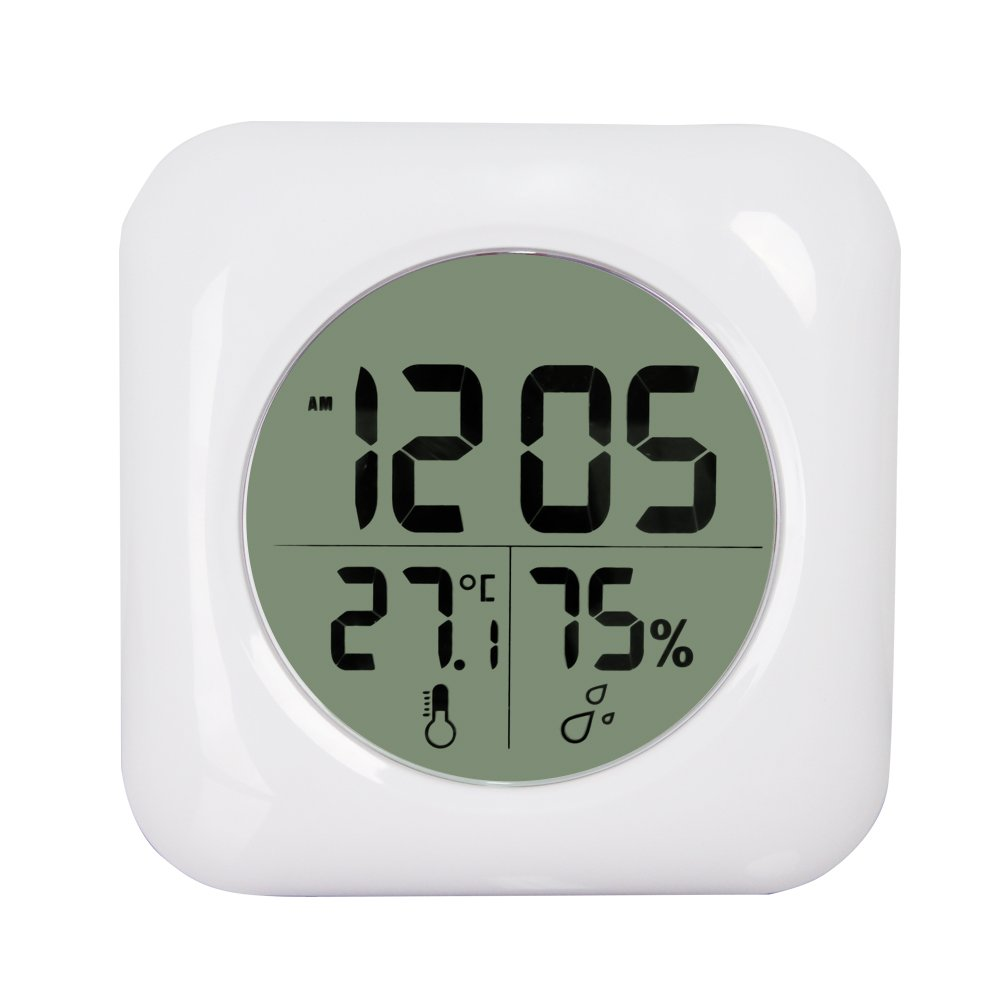 Qunlei Suction Cup Waterproof Kitchen Bathroom Digital Clock with Digital Thermometer White Silent