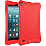 AVAWO Silicone Case for Amazon Fire 7 Tablet with Alexa (7th Generation, 2017 Release only) - Anti Slip Shockproof Light Weight Protective Cover - Red