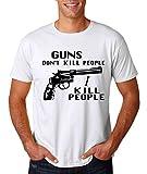 AW Fashion's Funny Gun's Don't Kill People, I Kill People Humor Premium Men's T-Shirt (XX-Large, White)
