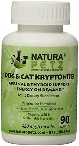 Natura Petz Dog and Cat Kryptonite Adrenal and Thyroid Support for Cushing's and Addison's Disease, Energy on Demand 90 Capsules, 420mg Per Capsule