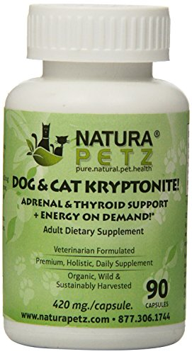 Natura Petz Dog and Cat Kryptonite Adrenal and Thyroid Support for Cushing's and Addison's Disease, Energy on Demand 90 Capsules, 420mg Per (Anemia Support)