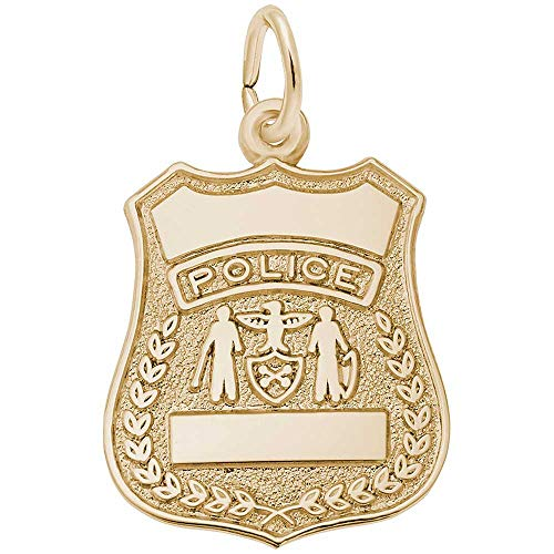 Rembrandt Charms Police Badge Charm, 14K Yellow Gold