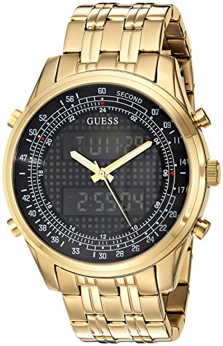 (GUESS Men's U0859G1 Trendy Gold-Tone Stainless Steel Watch with Digital Dial and Deployment Buckle )