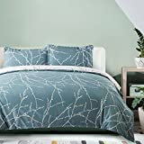 """Bedsure Duvet Cover Set with Zipper Closure-Teal/White Printed Branch Pattern Reversible,Full/Queen (90""""x90"""")-3 Piece (1 Duvet Cover + 2 Pillow Shams)-110 gsm Ultra Soft Hypoallergenic Microfiber"""